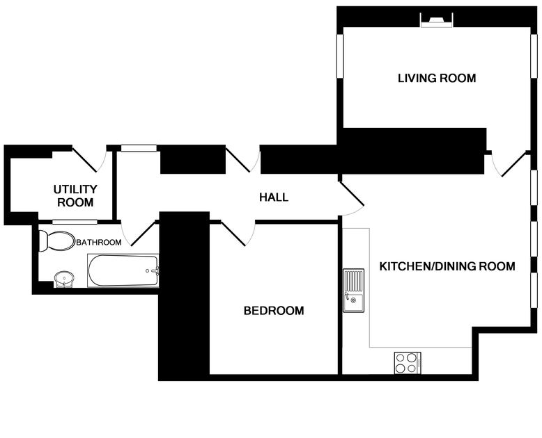 Floor plan of self catering holiday property Church Hill Flat showing all rooms in Port Isaac, Cornwall.