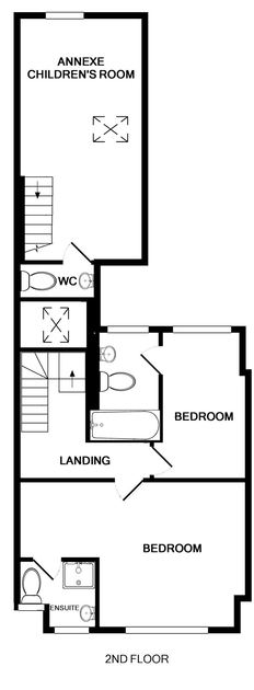 The second floor plan for Seaward, a large family holiday house to rent in Port Isaac in North Cornwall.