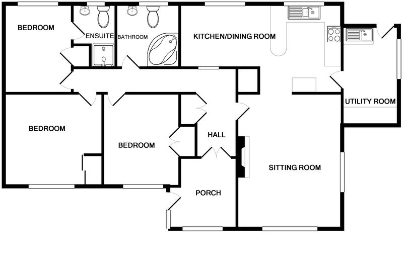 The ground floor plan for self catering holiday accommodation Sunnybank, just a five minute walk away from picturesque Port Isaac Harbour, shops and restaurants in this stunning spot on the North Cornish Coast.