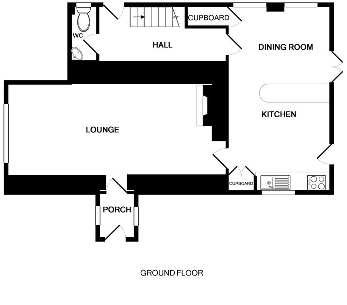The ground floor plan of White House, a traditional holiday cottage near Rock.