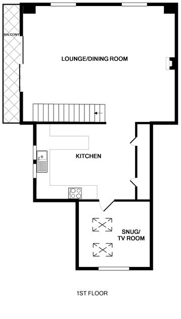 The detailed first floor plans for the large family holiday house, 7, Sandy Hills available to rent in Rock, North Cornwall.