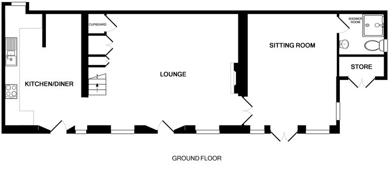 The ground floor plan of 2 Quay Cottage, a holiday rental in a prime position in Rock, Cornwall