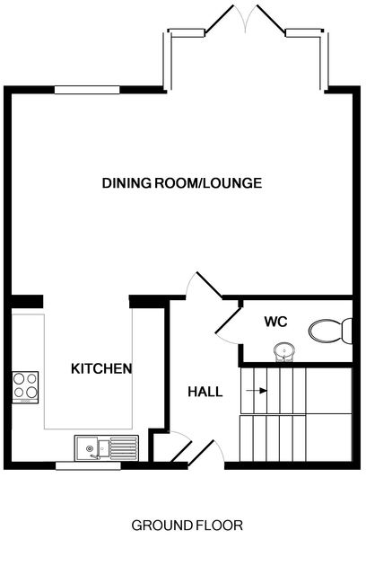 The ground floor plans of self catering holiday house 3,Pentire Rocks, set in the peaceful coastal area of New Polzeath in Cornwall