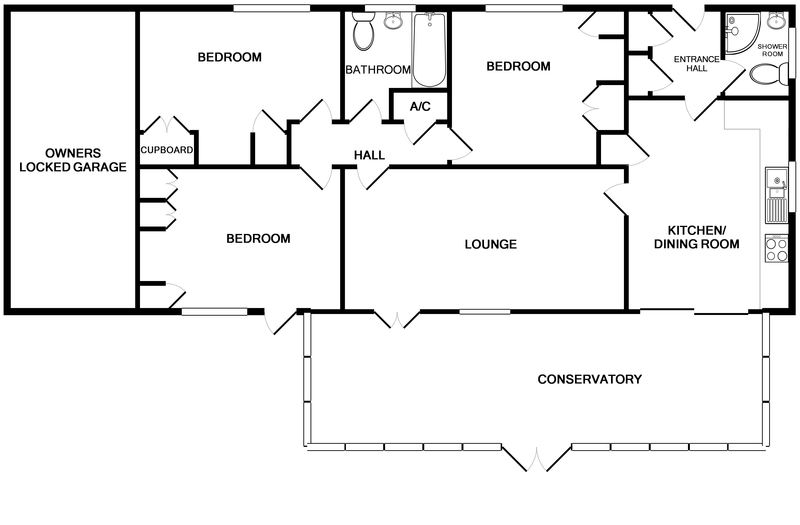 The detailed ground floor plans of Sandlings a coastal holiday house to rent in Daymer Bay, North Cornwall.