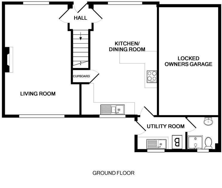 The ground floor plans for Marbeachow, a dog friendly holiday house in Tredrizzick near Rock in North Cornwall.