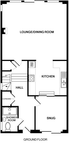 The ground floor plans of 3, The Sands, a luxury holiday house to rent in Polzeath, North Cornwall.