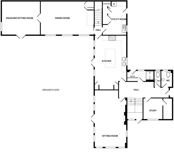 The ground floor plan of Harbour Lights, a large, self-catering holiday house in Rock, Cornwall