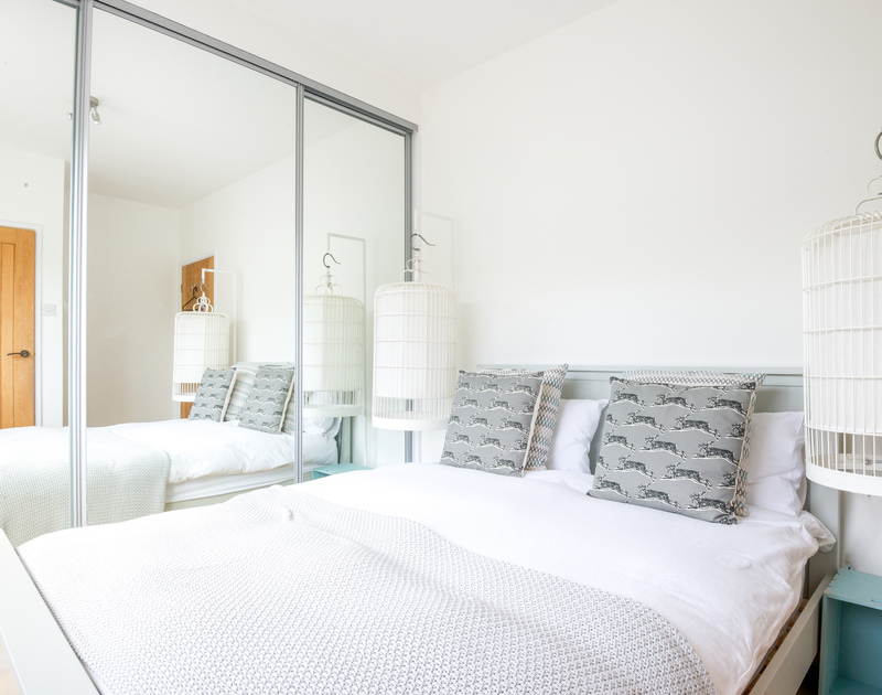The tastefully decorated double bedroom in newly refurbished Hagervor House, a luxury self catering holiday house in Polzeath, Cornwall.