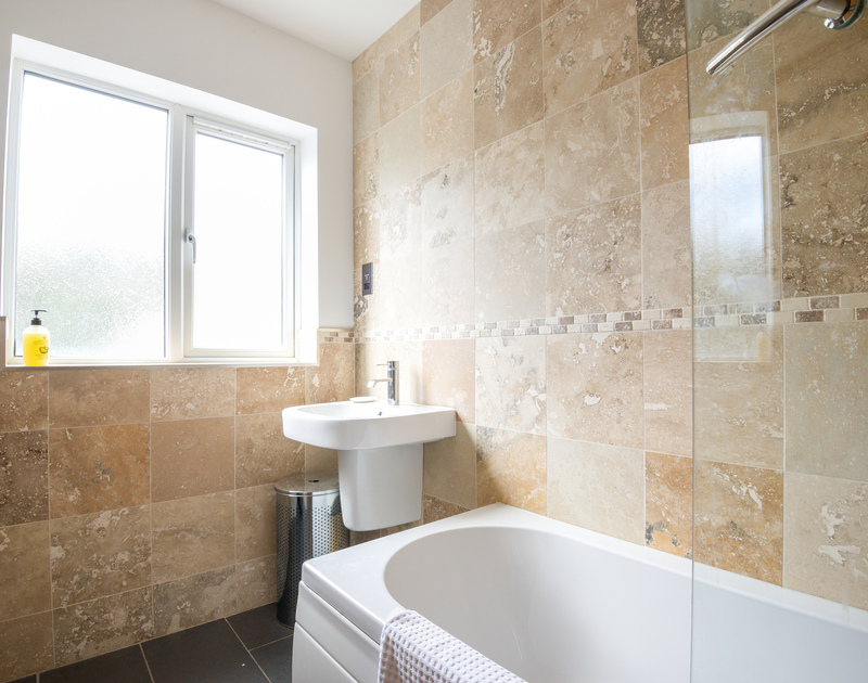 The newly refurbished bathroom at Hagervor House, a self catering holiday house just a minute from the sea and surf of Polzeath in North Cornwall.
