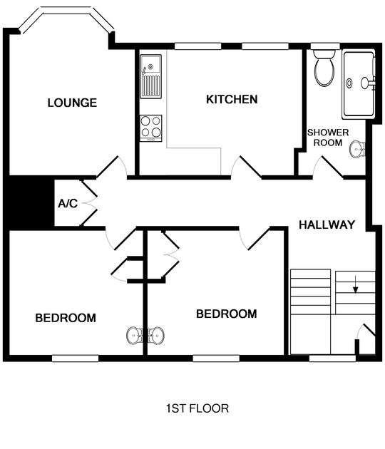 The first floor plan of Pinewood Flat three, a self catering holiday rental in Polzeath on the North Cornish Coast.