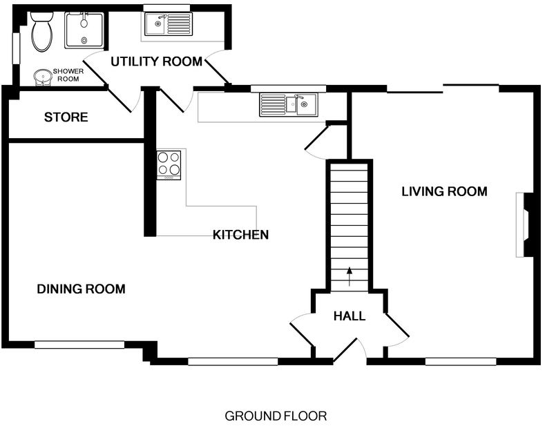 The ground floor plan for Tresow, a self catering holiday house to rent in peaceful Tredrizzick, Rock, Cornwall.
