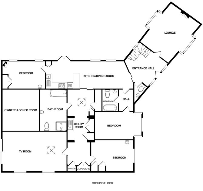 The ground floor plan of Trewiston Cottage, a holiday rental at Daymer Bay, Cornwall
