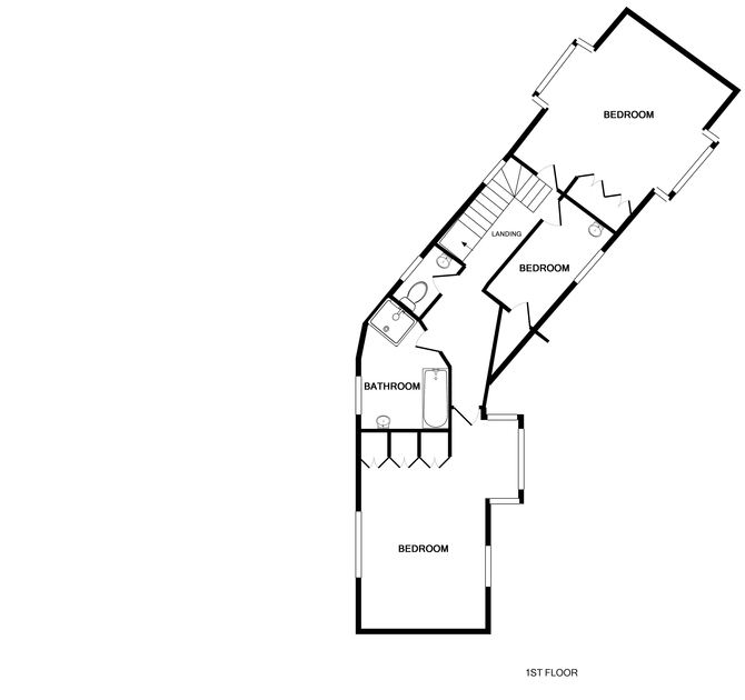 The first floor plan of Trewiston Cottage, a traditional holiday house at Daymer Bay, Cornwall