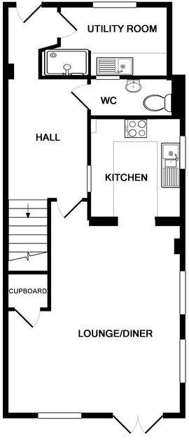 The ground floor plan for self catering holiday house Lowenna Manor 10 in Rock, North Cornwall.