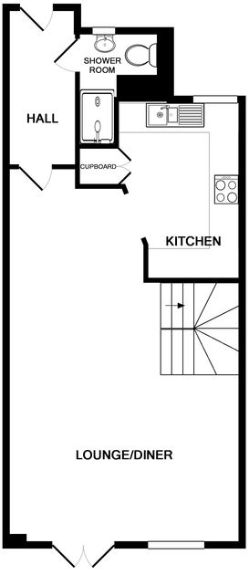 The ground floor plan of Lowenna Manor 3, a holiday house in Rock, Cornwall