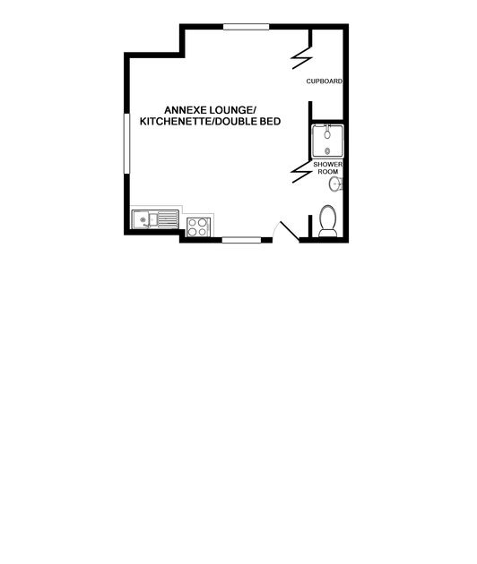 The floor plan for the annex at Porthilly Greys, self catering holiday accommodation in Rock, Cornwall.