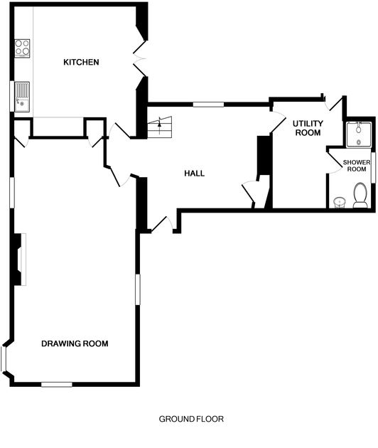 The ground floor plan for beautiful holiday house Porthilly Greys, self catering accommodation in Rock, Cornwall.