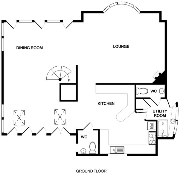 The ground floor plan for Gunyah, a holiday reantal in Polzeath, North Cornwall.