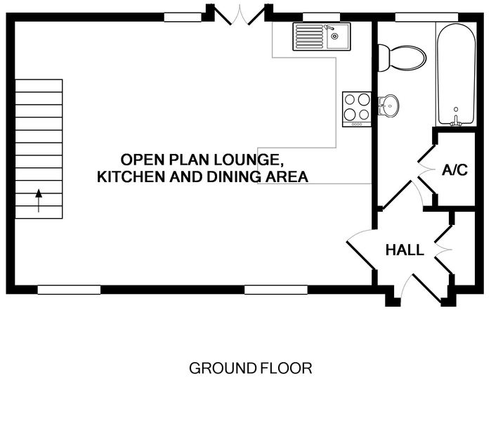 The ground floor plan for The Granary, a holiday cottage to rent in Rock, Cornwall.