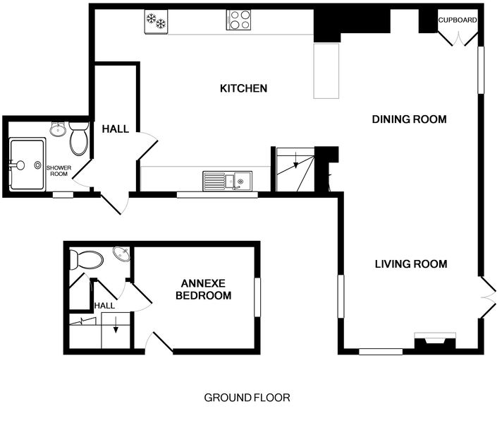 The ground floor plan of Ivy Cottage, a holiday house to rent in Polzeath, North Cornwall