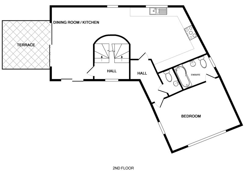 The second floor plan for The Lighthouse a luxury holiday rental in Rock, North Cornwall.