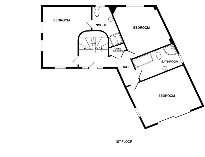 The first floor plan for The Lighthouse, a luxury holiday house to rent in Rock, Cornwall.