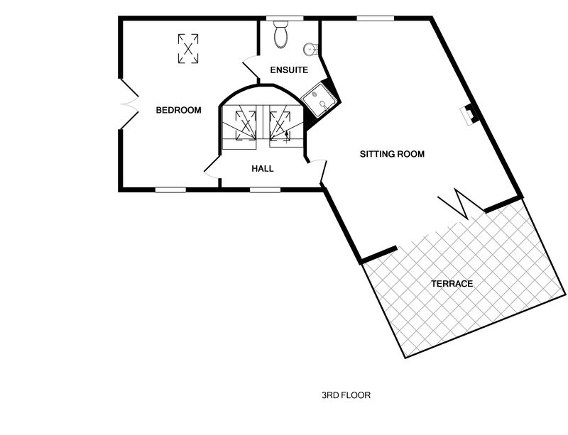 The third floor plan for The Lighthouse, a luxury holiday rental in Rock, Cornwall.