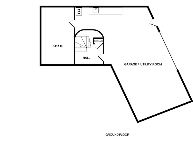 The ground floor plan of The Lighthouse, a luxury holiday rental in Rock, Cornwall.