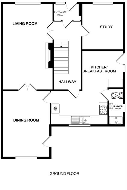 The ground floor plan of Whiteaway, a holiday house to rent in Rock, North Cornwall