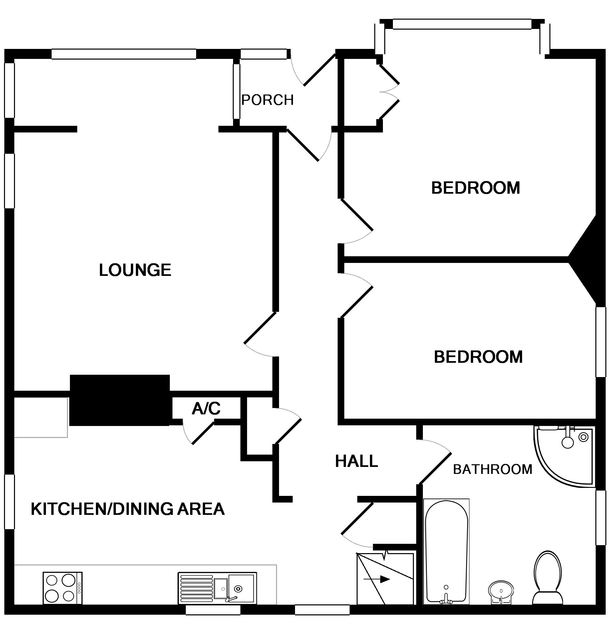 The ground floor plan of Seaspray, a self-catering holiday house in Polzeath, Cornwall