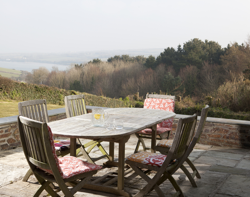 Lovely countryside and river views from the patio of The Old Granary, a holiday house in Rock, Cornwall