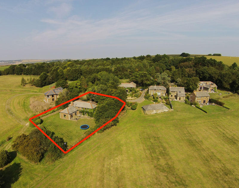 An aerial view of the secluded, private location of The Old Granary, a holiday house to rent in Rock, Cornwall