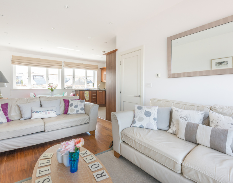 Spacious sitting room and dining room on the top floor of Number 9, Port Isaac