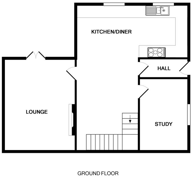 The ground floor plan for Hagervor House, a self catering holiday house to rent a minute from the sea and surf on Polzeath Beach in North Cornwall