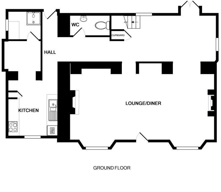 The ground floor plan for pet friendly Conifers, a holiday house to rent in Rock, North Cornwall.
