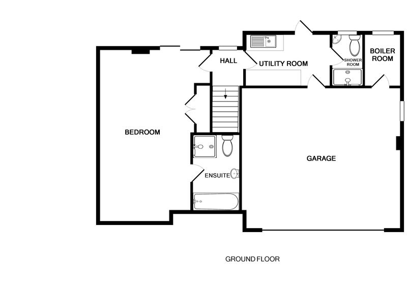 The ground floor plan for Penina, a self catering holiday rental in Polzeath, Cornwall.