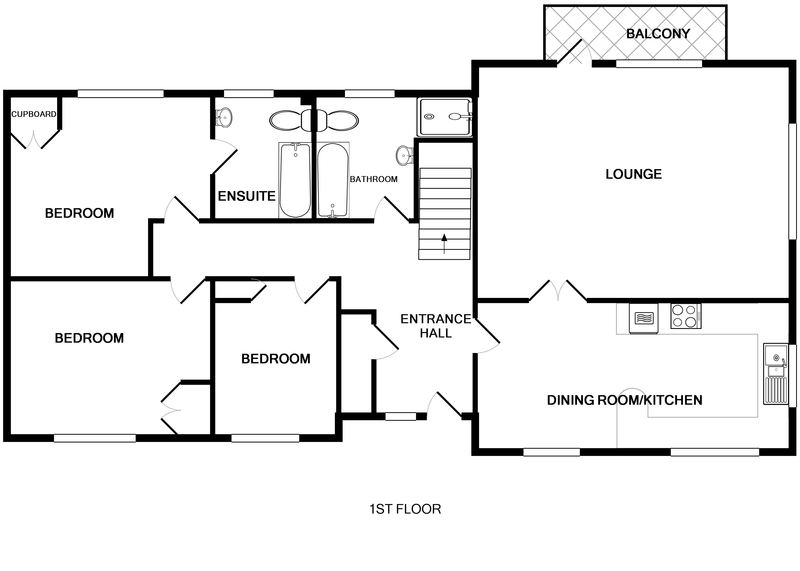 The first floor plan for Penina, a self catering holiday house to rent close to the coast at Polzeath, North Cornwall.