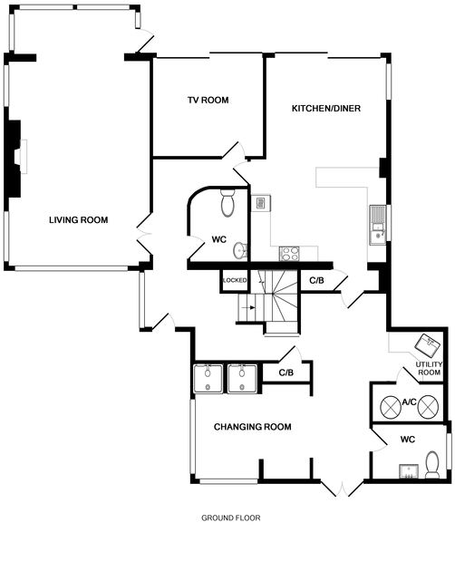 The ground floor plan for Treleven Cottage, a pet friendly, luxury self catering holiday rental in Polzeath, Cornwall.