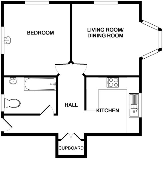 The ground floor plan of Pinewood Flat 4, a self-catering holiday apartment in Polzeath, Cornwall