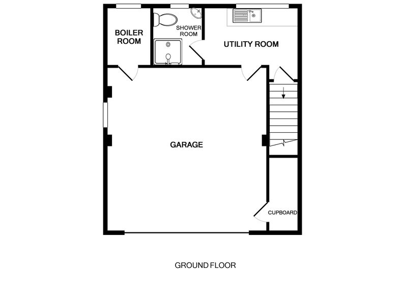 The ground floor plan for Beaches, a self catering holiday house to rent in Polzeath, Cornwall.