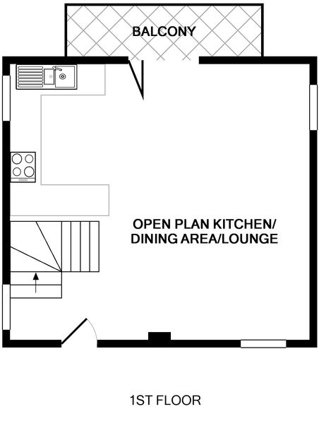 The first floor plan of Back Cottage, a holiday rental in Polzeath, Cornwall, with its open plan living area and balcony.