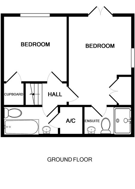 The ground floor plan of Back Cottage, a holiday rental in Polzeath, Cornwall