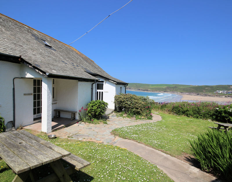 The entrance of Gullsway: The Annexe, a first floor holiday apartment at Polzeath, Cornwall