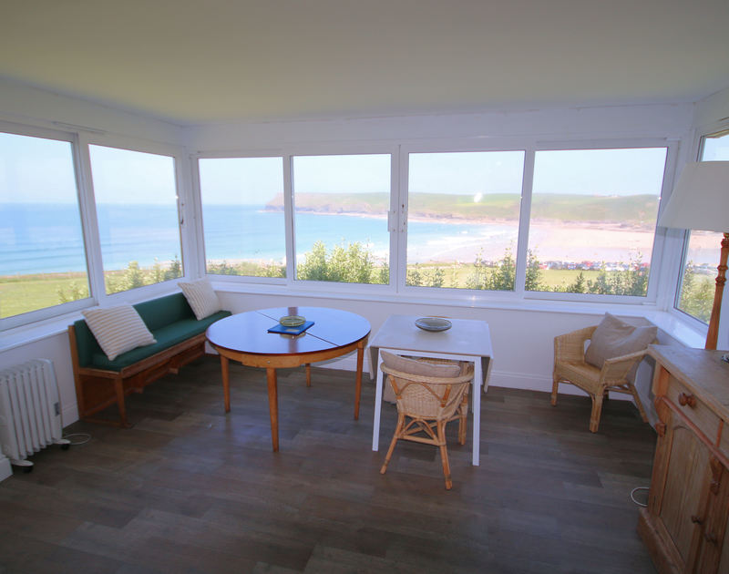 Panoramic coastal views from Kittiwake, a self-catering holiday cottage in Polzeath, Cornwall