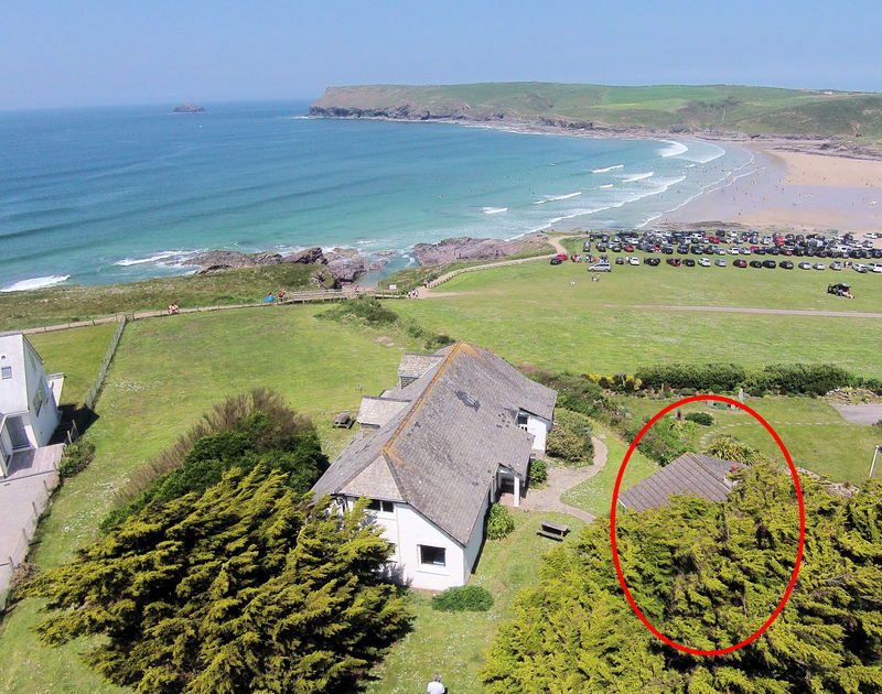 The aerial view of Gullsway;September Tide shown in red, a self catering holiday rental in Polzeath Cornwall.