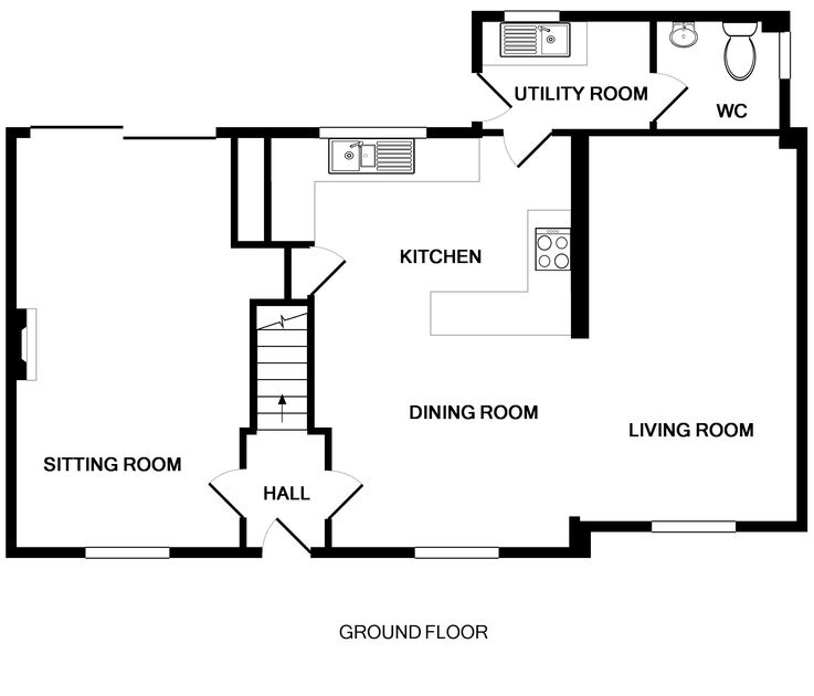 The ground floor plan for pet friendly Brea, a self catering holiday house to rent in Tredrizzick, Rock, Cornwall.