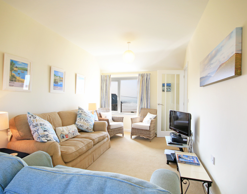The lounge in The Holiday House, a self catering, pet friendly, holiday rental in New Polzeath, Cornwall.