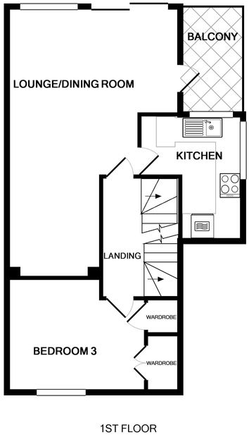 The first floor plan of One Slipway Cottage, a self-catering holiday rental in Rock, Cornwall