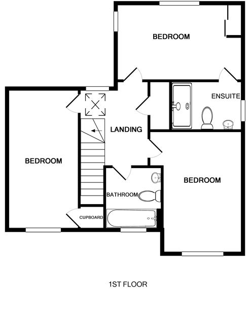 The first floor plan for 5, The Sands, a luxury self catering holiday house to rent in Polzeath, Cornwall.