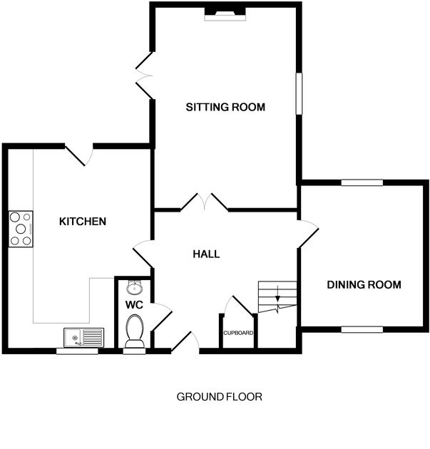 The ground floor plan of Dolphin Cottage, a self-catering holiday house in Rock, Cornwall
